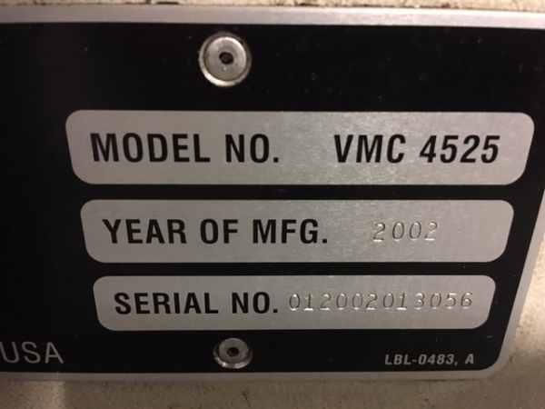 2002 FADAL VMC-4525 - Vertical Machining Center