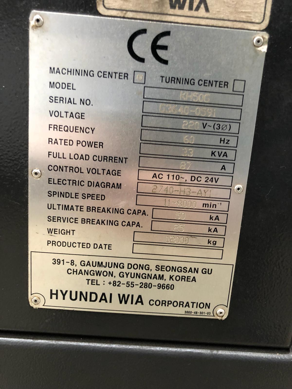 2011 HYUNDAI WIA KH50G - Horizontal Machining Center
