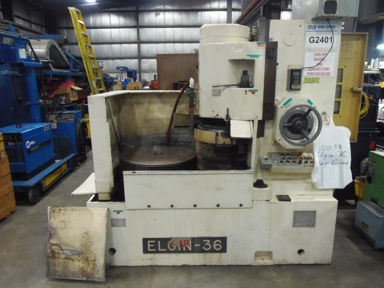 "30"" ELGIN VERTICAL SPINDLE ROTARY SURFACE GRINDER, MODEL 36, AUTO/MANUAL OPERATION, 32 HP, MAG CHUCK WITH DEMAG, COOLANT"