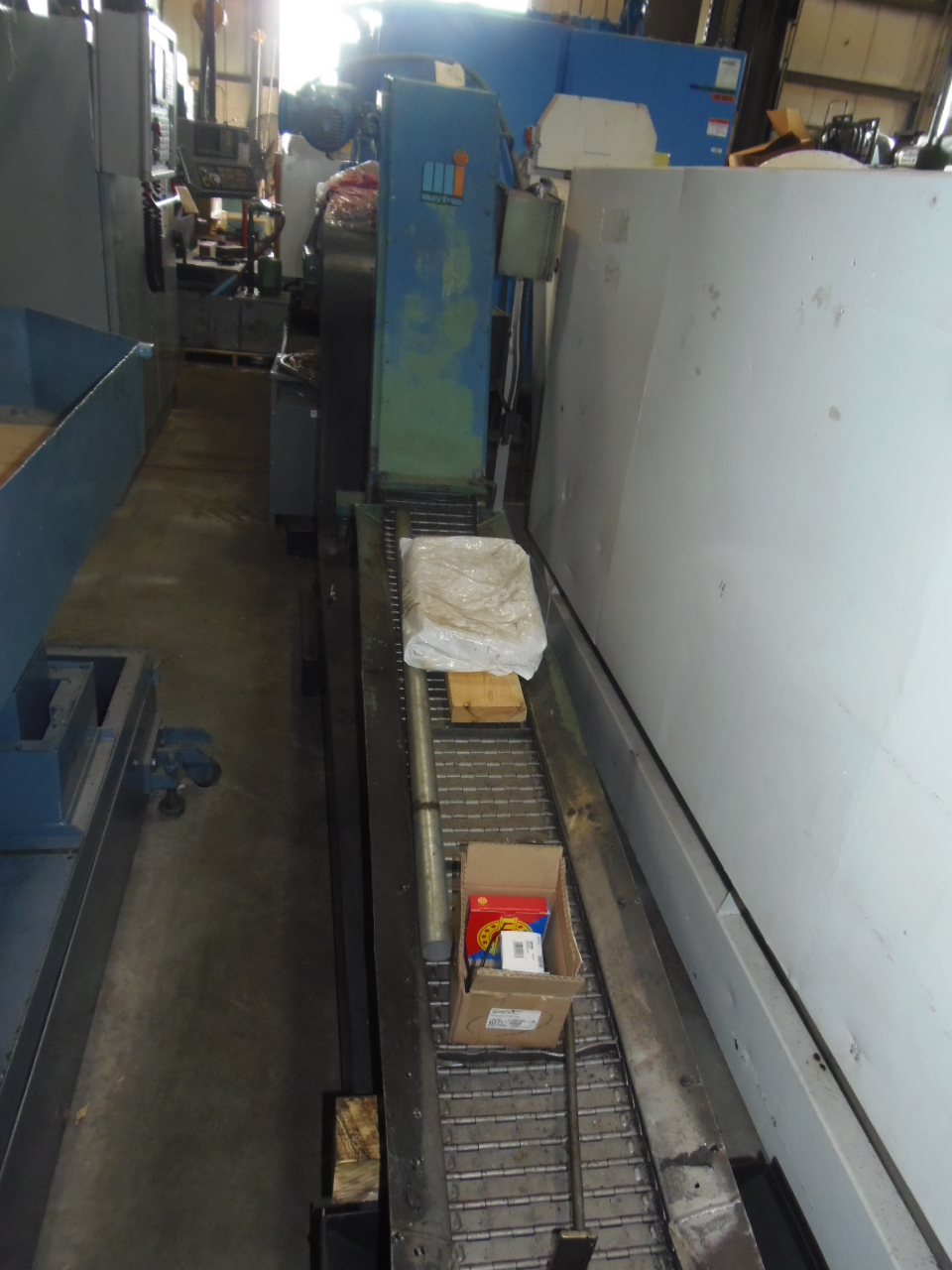 """MAYFRAN CHIP CONVEYOR, 10"""" x 64"""" COLLECTION AREA, 42"""" DISCHARGE HEIGHT, 10' LONG"""