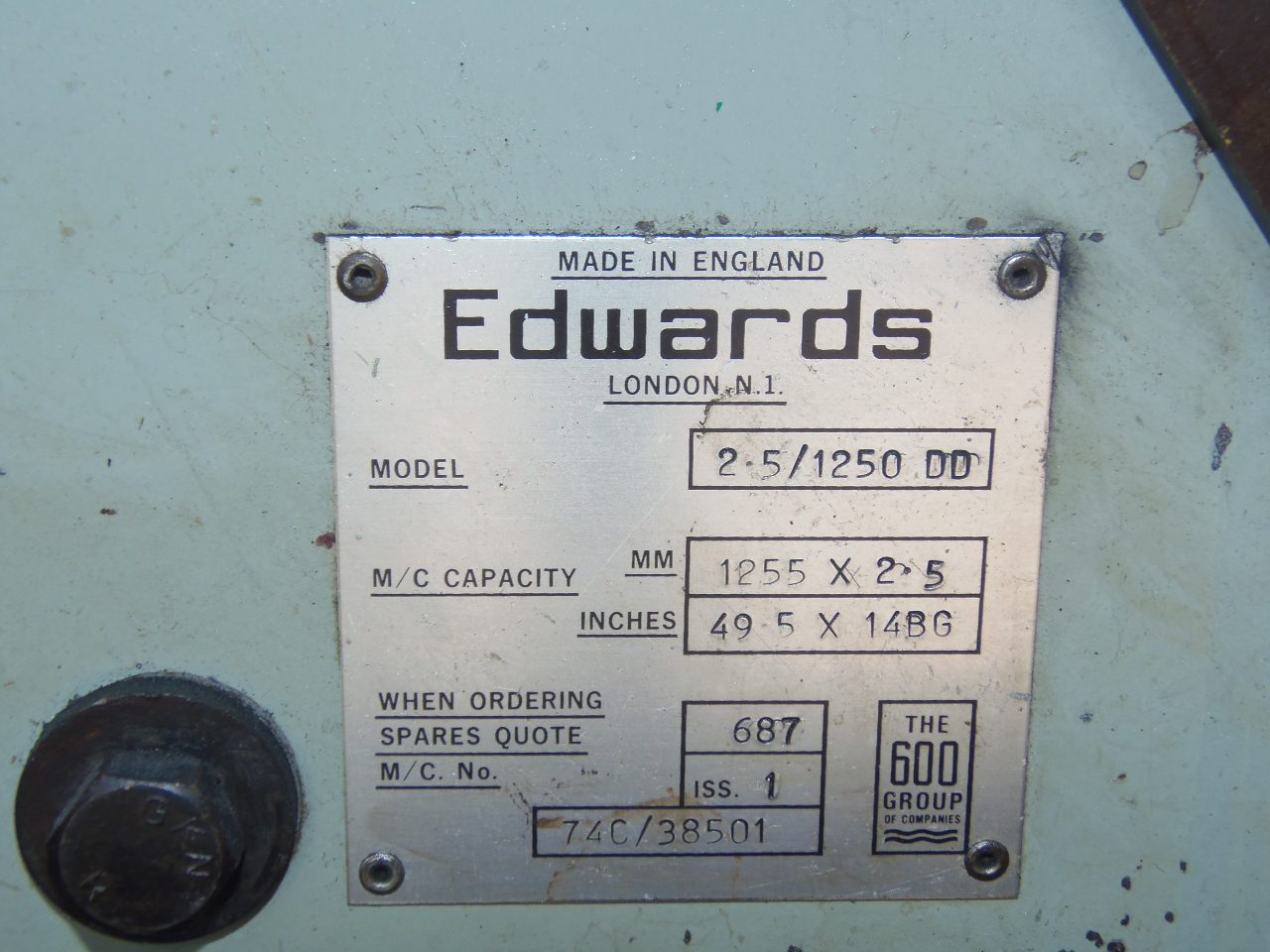 "14 GA X 49.5"" EDWARDS MODEL 2.5/1250 ELECTRIC SHEAR, 24"" ROBG, FRONT SUPPORT ARM"