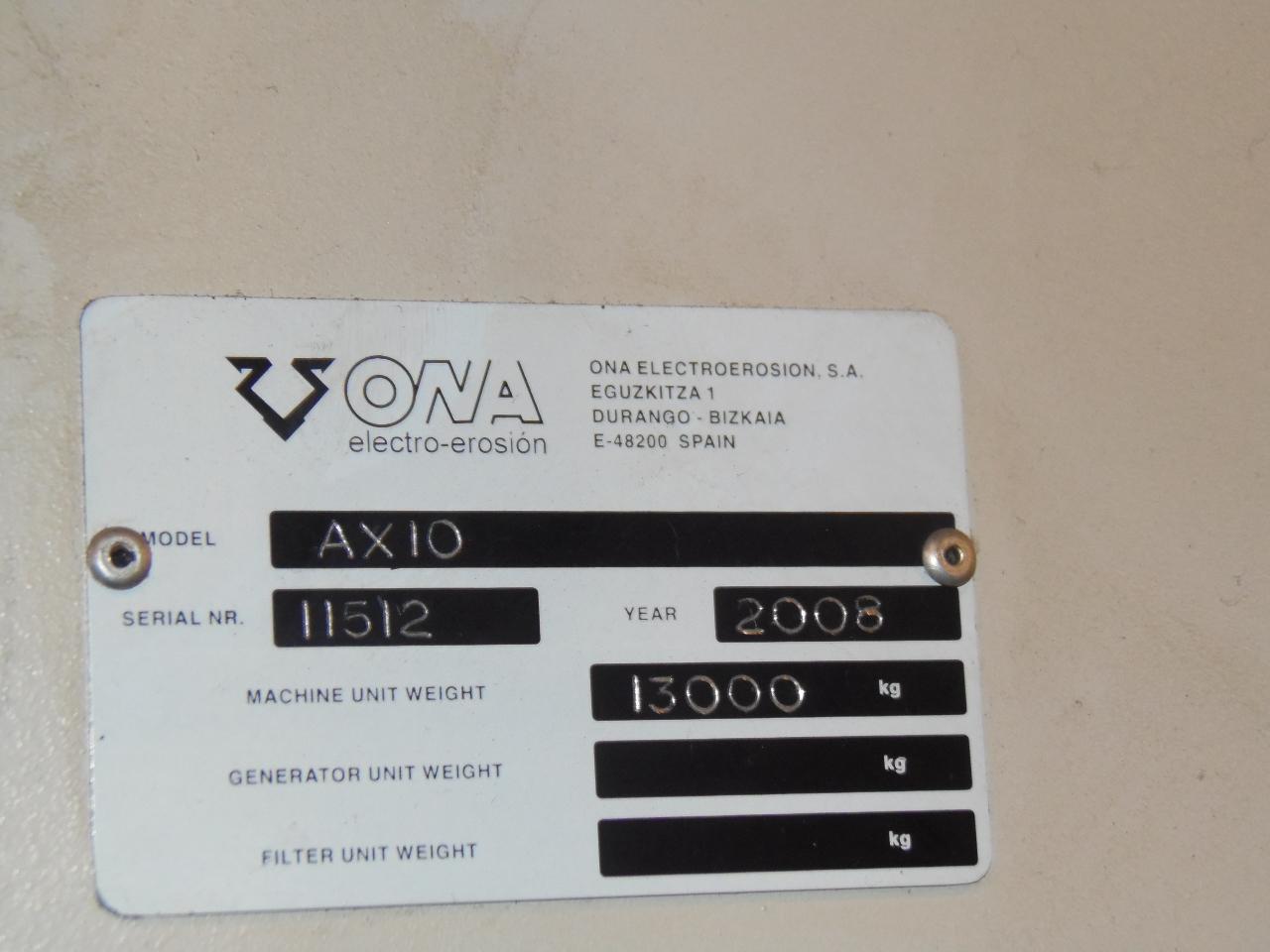 """ONA EDM MODEL AX10, TRAVELS 59.1 X 39.4 X 27.5"""", 78.7 IPM TRAVERSE, TAPER, UV AXIS, 76 X 63 X 27.5 WORKPIECE, 22,000 LBS WEIGHT CAP., NEW 2008"""