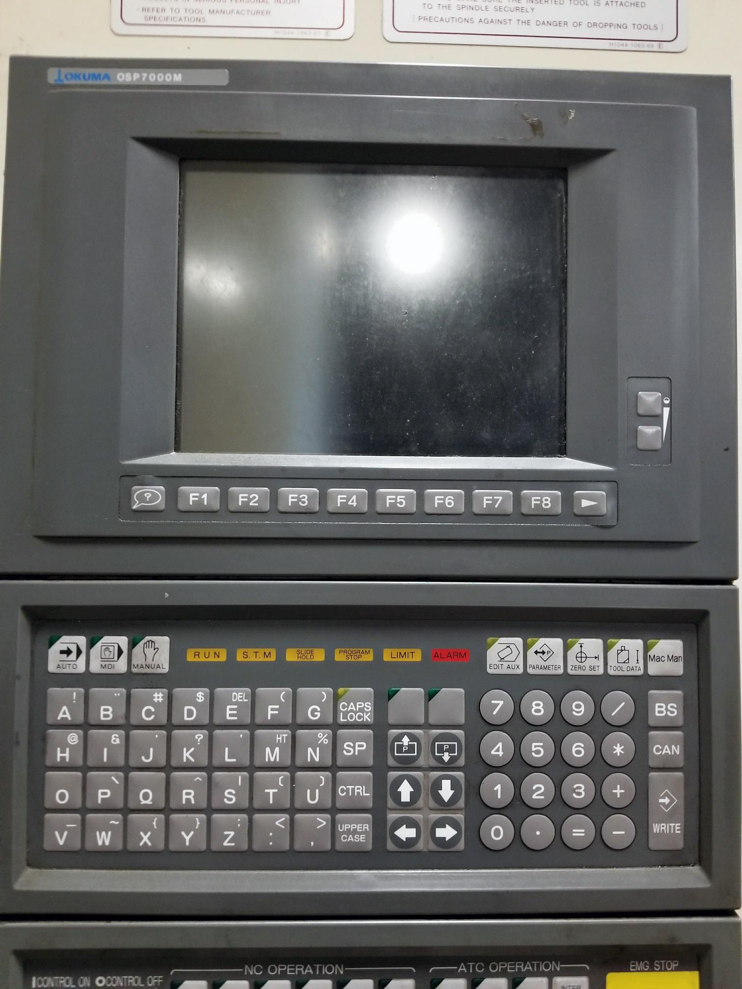 OKUMA MX50HB, DUAL PALLETS, OSP7000M CONTROL, ONE DEGREE, 5,000 RPM, THRU SPINDLE COOLANT, 1998