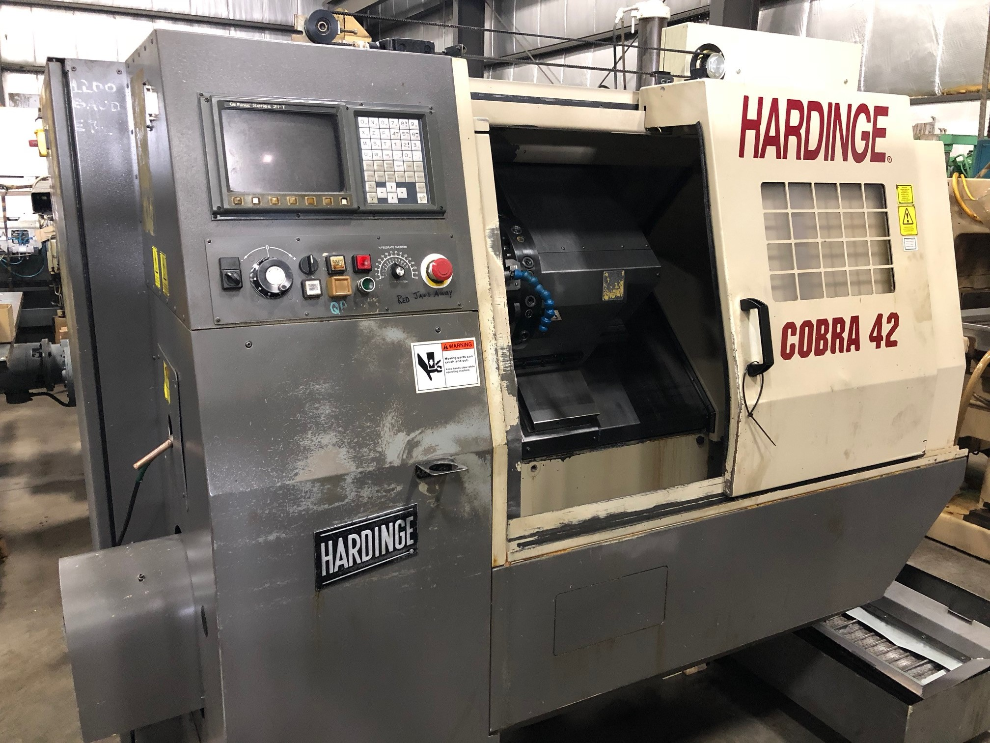 HARDINGE COBRA 42 , FANUC 21T CONTROL, CHIP CONVEYOR, TURRET, CHUCKER, 5000 RPM, 1997