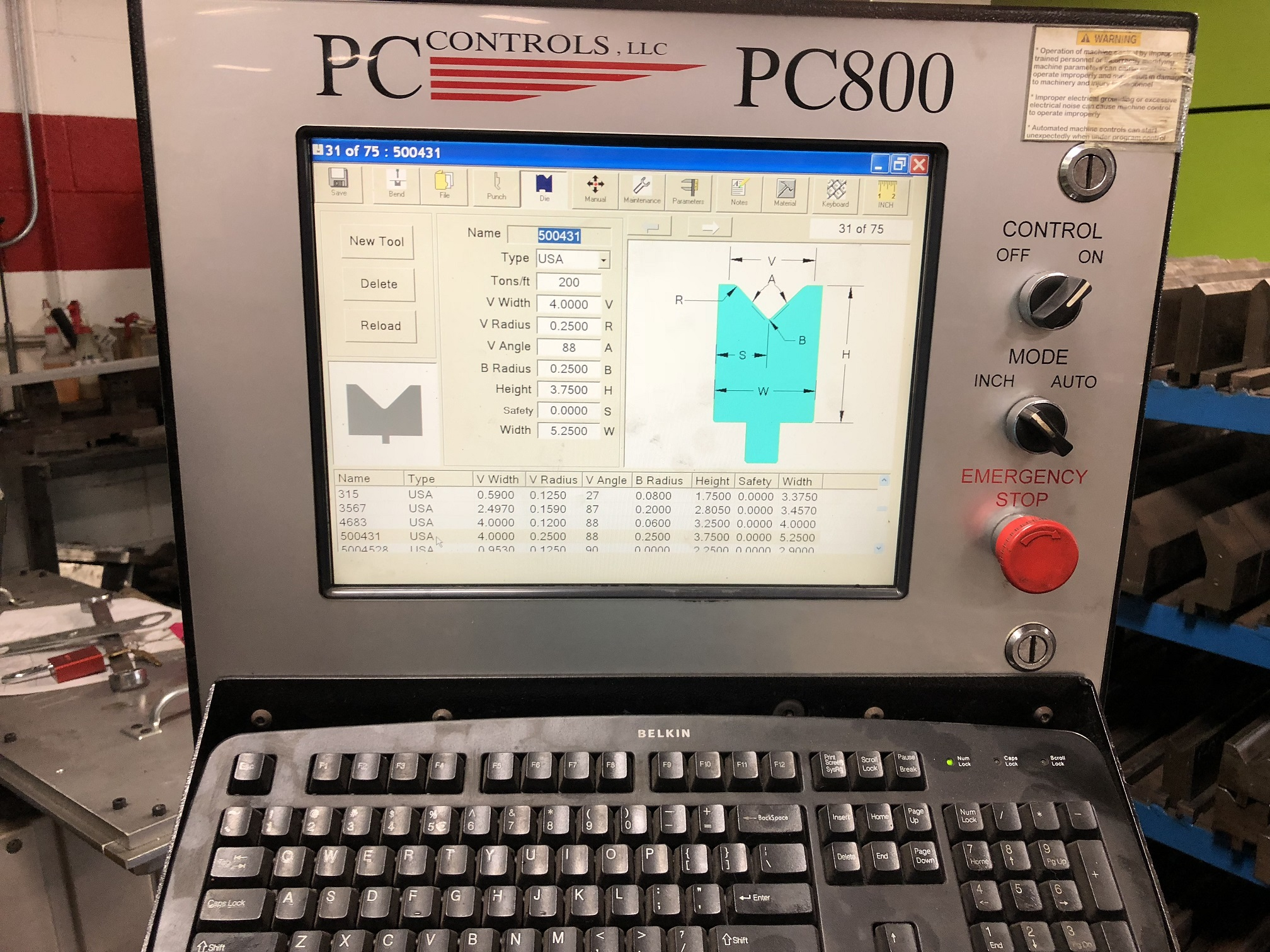 "230 X 14 CIN., 16' OVERALL, 14'6"" BETWEEN,  2007 NEW PC800 TOUCH SCREEN CNC CONTROL, HYDRAULIC, AUTO CROWNING, X/Y1/Y2  CNC CONTROL, OVER TONNAGE, 1990"