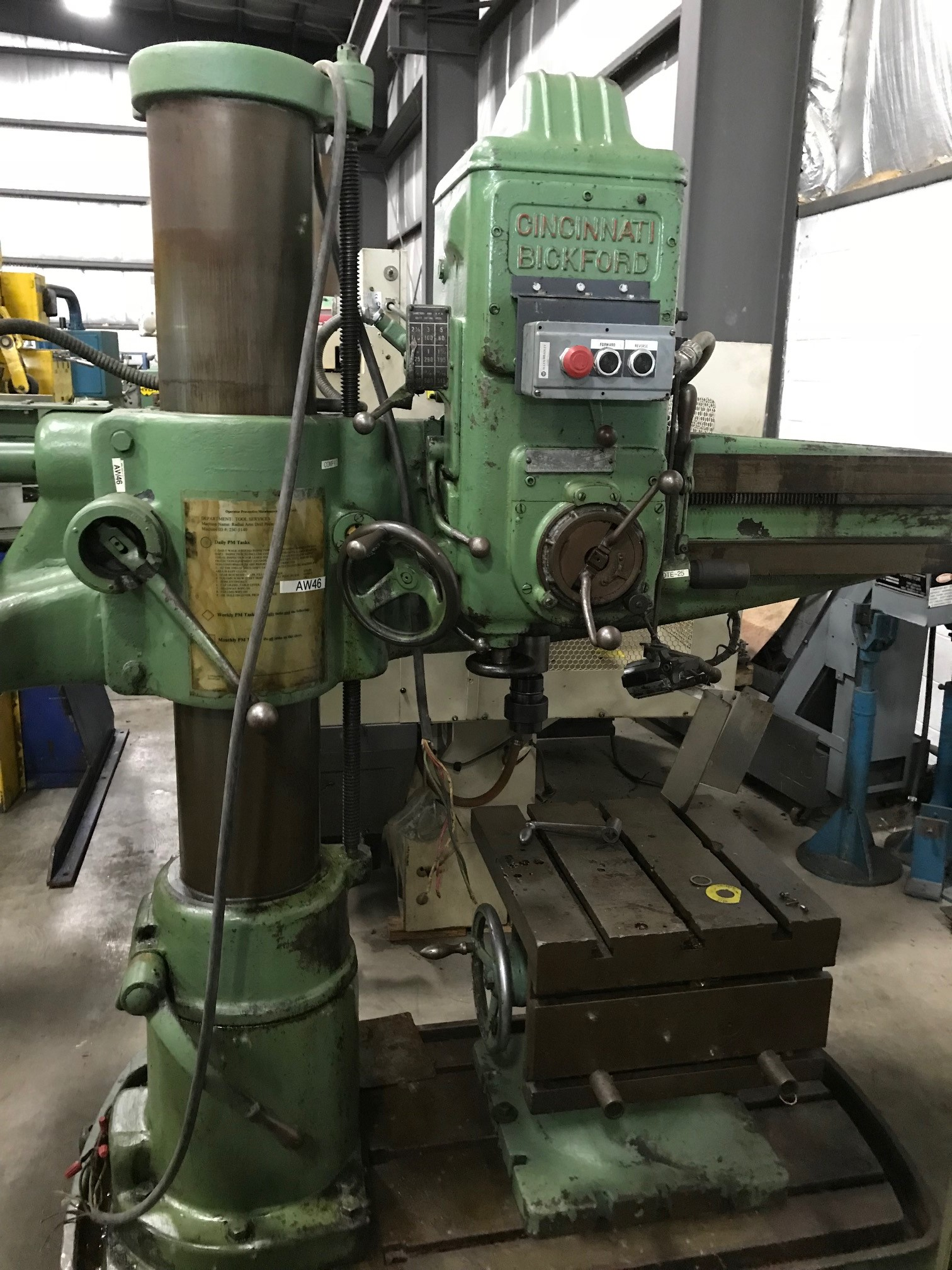 "3' x 9"" CINCINNATI BICKFORD, RADIAL ARM DRILL, 3 HP MOTOR"
