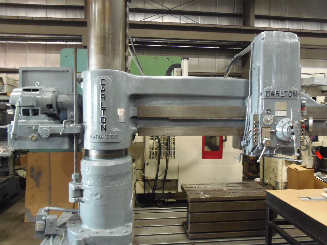 "8' X 19"" CARLTON 4A RADIAL ARM DRILL, 50HP MOTOR, BOX TABLE, 1979"