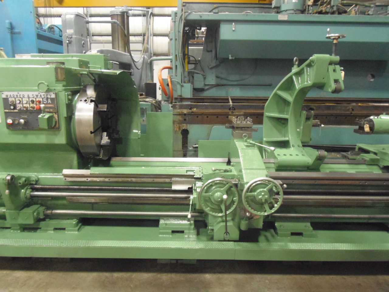 "5A WARNER & SWASEY, MODEL 3600, THREADING, TAPER, 194"" TURRET TO CHUCK FACE, 12.5"" HOLE, ROLLER STEADY REST, 1981 NICE"
