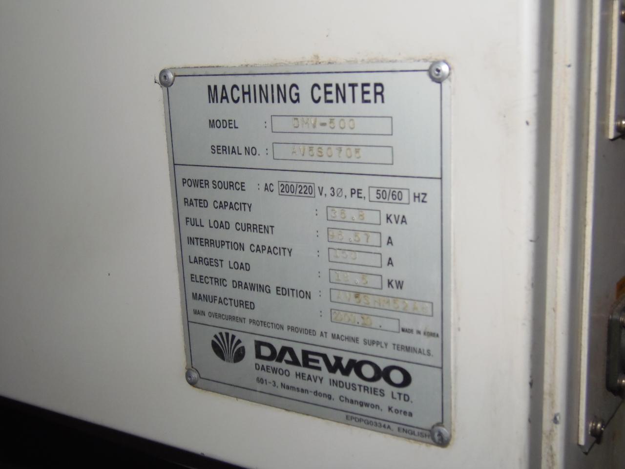 """DAEWOO DMV-500, MITSUBISHI 500 CONTROL, 40"""" x 20"""" x 20"""", 20HP,  10000 RPM, CAT 40, 2000"""