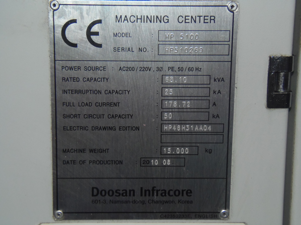 "DOOSAN HP-5100, 33.5 X 27.6 X 29.5 TRAVELS, 2-19.7"" PALLETS, FANUC 31i, TSC, CHIP, 60 ATC, CAT 40, 12,000 RPM, 2362 RAPIDS,  2010"