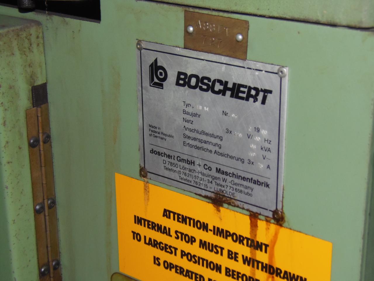 ".156 X 8.875"" X 8.875"" BOSCHERT NOTCHER, MODEL LB14, HYDRAULIC, COPING ATTACHMENT, 1996"
