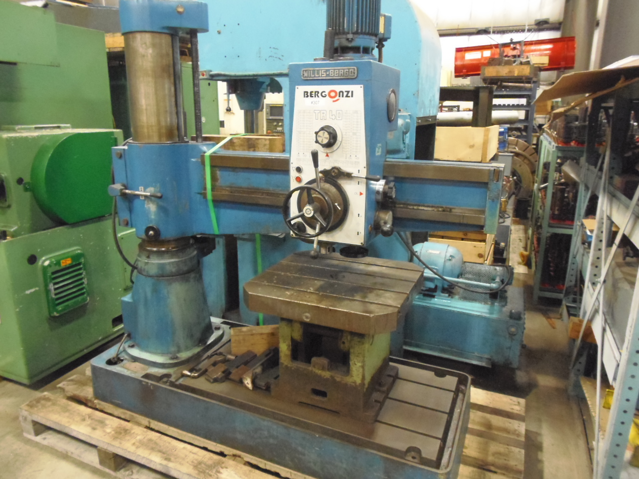 "3' x 9"" BERGONZI RADIAL ARM DRILL, MODEL TR-40, POWER MOVEMENTS, BOX TABLE"