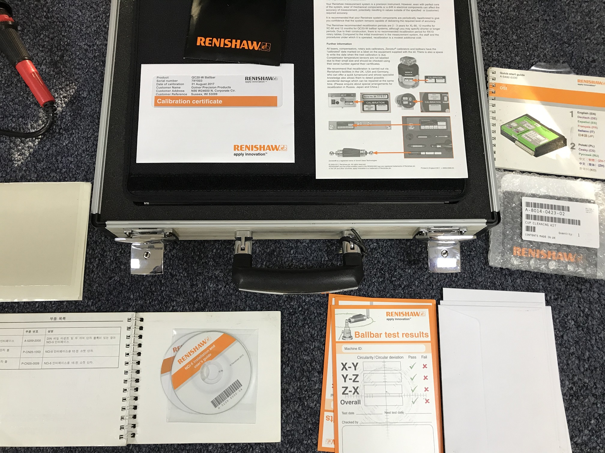 RENISHAW QC20-W BALLBAR INSPECTION KIT, NEW 2014 WITH ALL ATTACHMENTS AND LATHE KIT