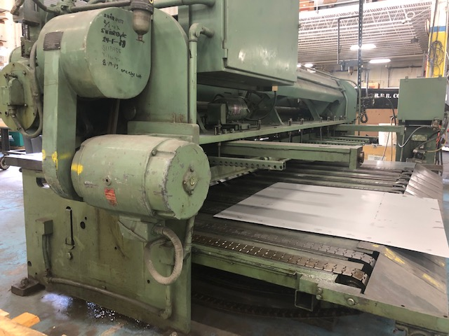 10 ga x 12' CINCINNATI MODEL 1012 MECHANICAL SHEAR, STACKING CONVEYOR, FOPBG, SQ. ARM, SUPPORT ARMS, MAG. SHEET SUPPORTS, 1974