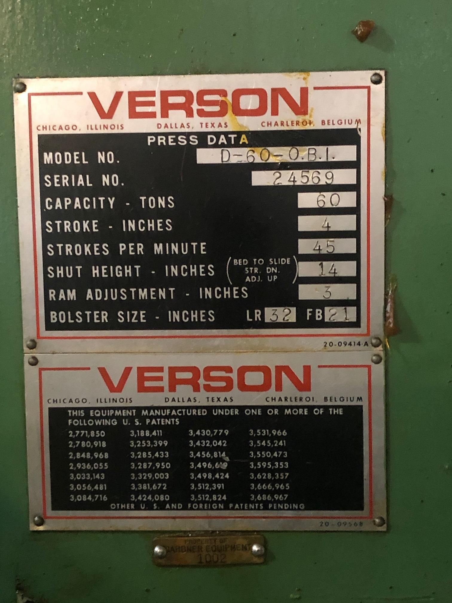 "60 TON VERSON, MODEL D-60, 4"" STROKE, 45 SPM"