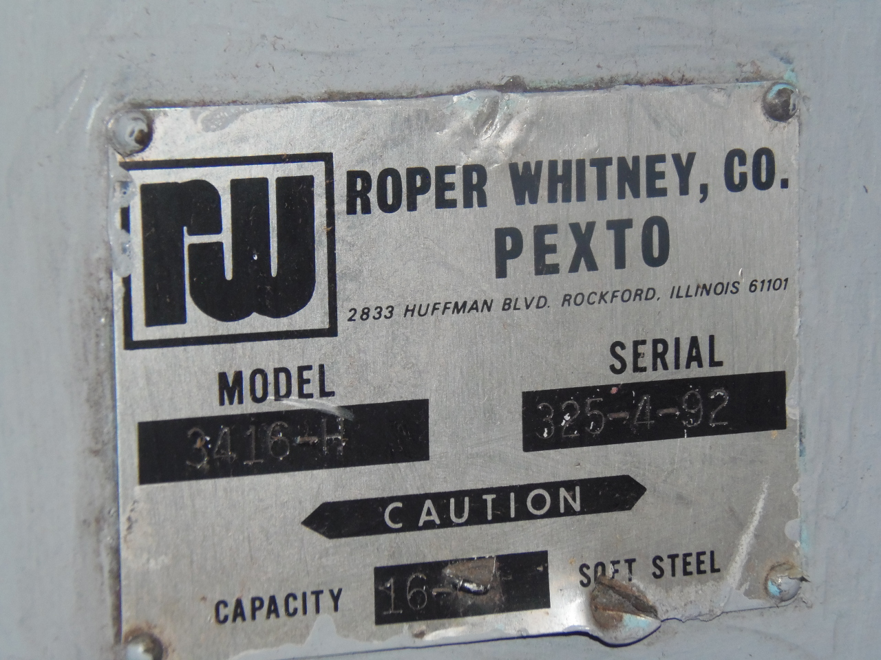"16 GA X 36"" ROPER-WHITNEY ROLL, MODEL 1634H, 1992, INITIAL PINCH"