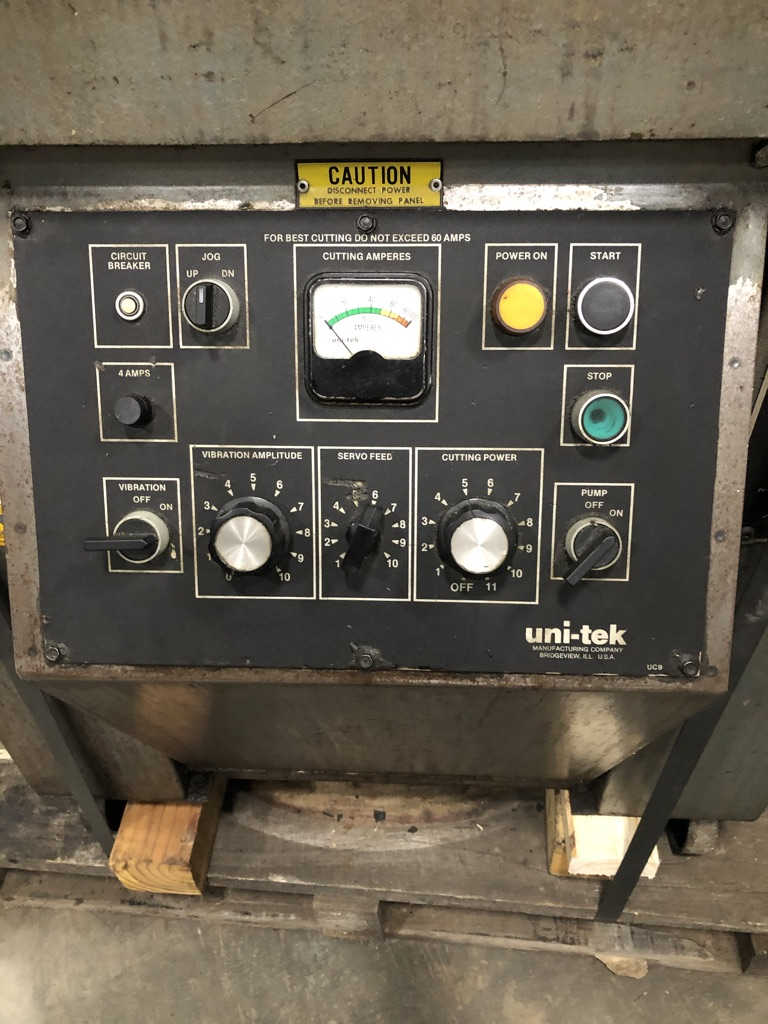 "UNI-TEK (ELECTRO ARC) MODEL 300-S1, TAP DISINTEGRATORS, SERVO FEED, SWIVEL HEAD, .02 TO 3"", DC SINGLE PHASE POWER SOURCE, MOLY OR GRAPHITE TOOLING,"