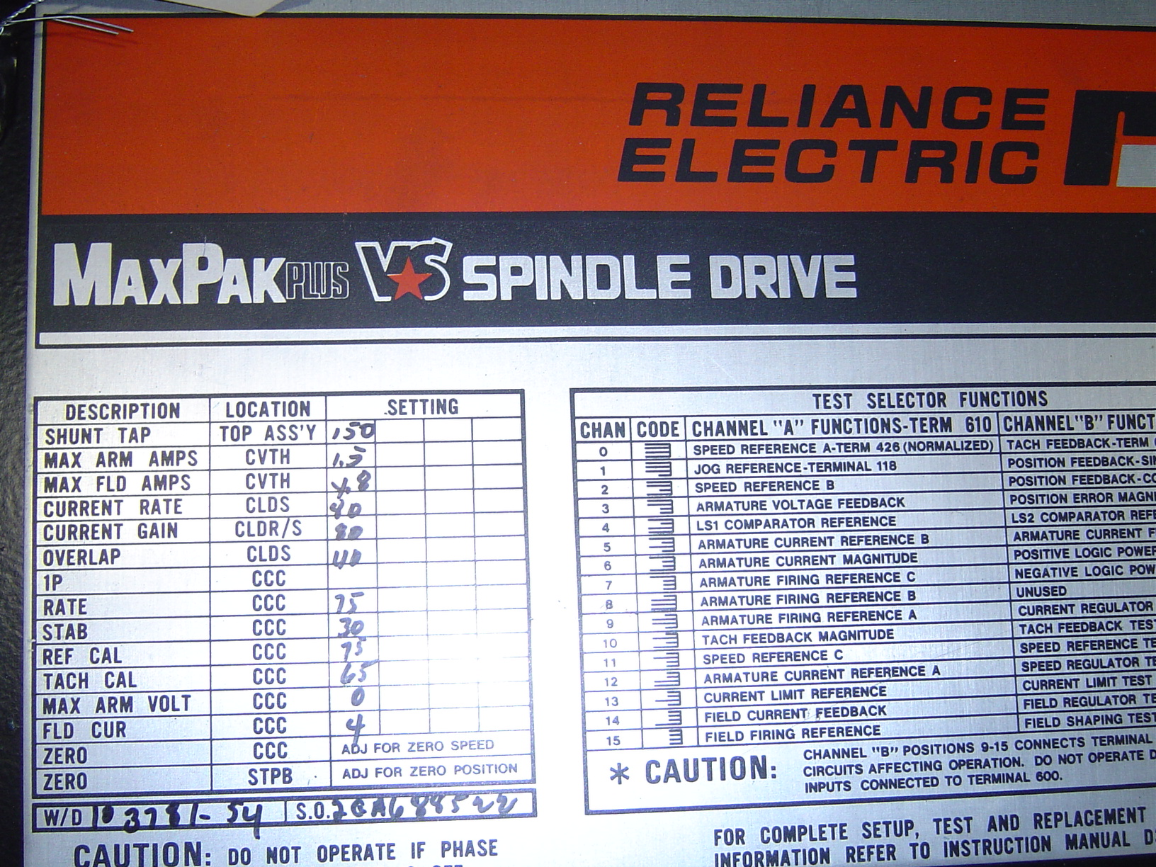 RELIANCE ELECTRIC  MAXPAK VARIABLE SPEED SPINDLE DRIVE