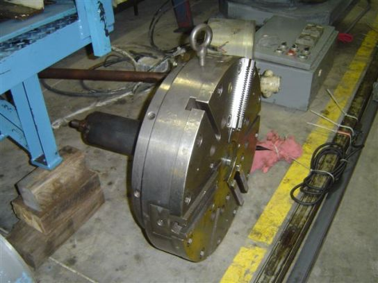 "24""  HYDRAULIC 3 JAW CHUCK, A1-11 SPINDLE MOUNT, LOGANSPORT ACTUATOR, OFF OF A W&S SC-25"