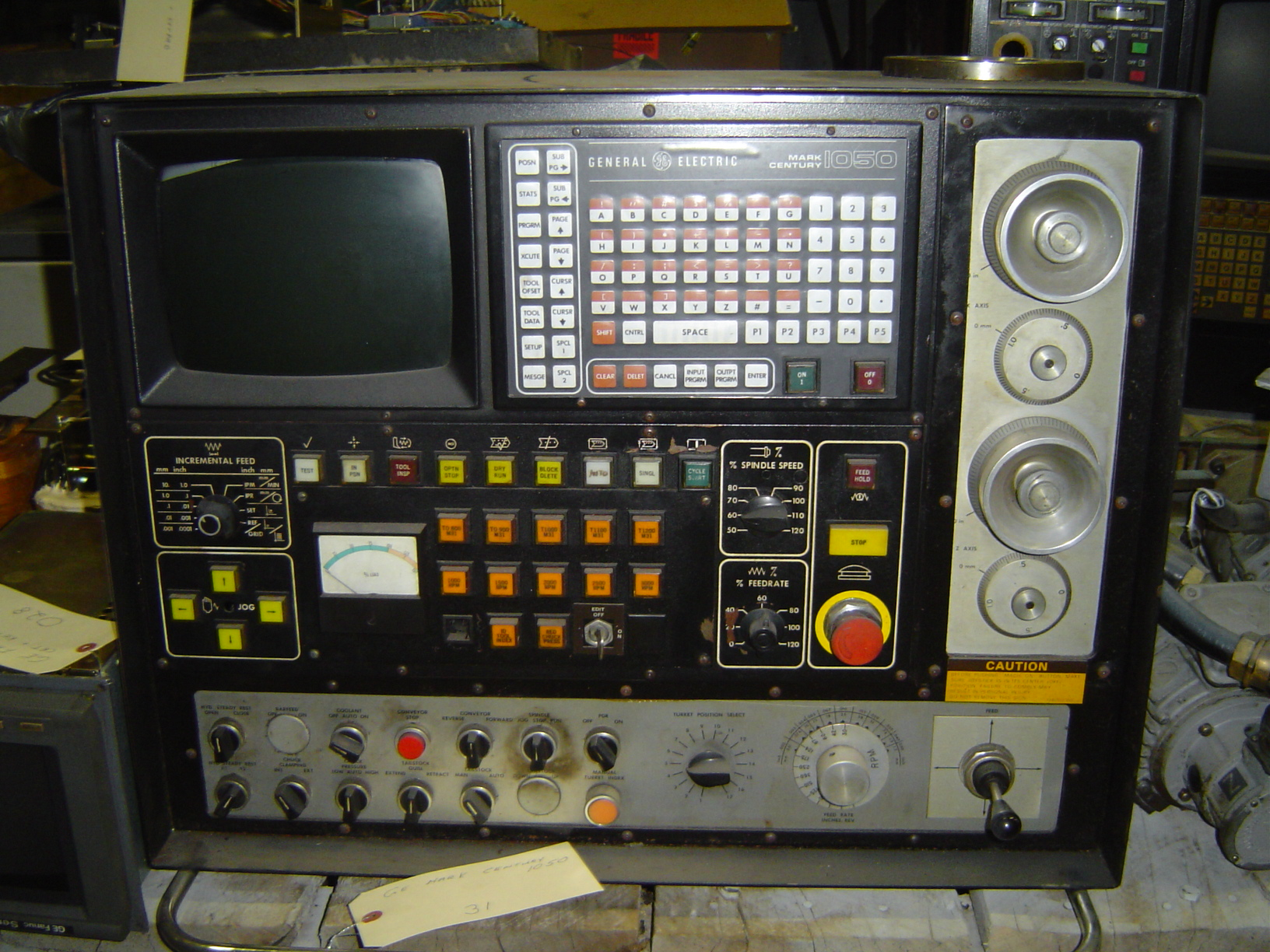 GENERAL ELECTRIC CENTURY 1050 CNC CONTROL PANEL, CRT AND KEYBOARD