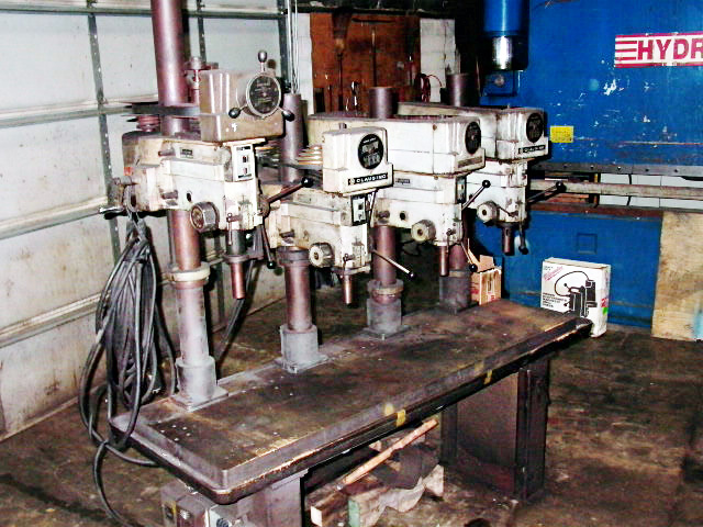 4 SPDL CLAUSING DRILL PRESS, BELT PULLEY, 24 X 80 TABLE, 20&quot SWING, 20&quot BTW SPDLS OC