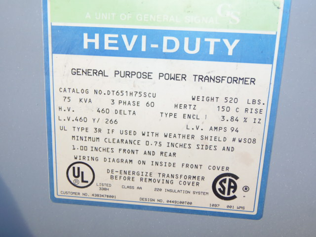 HEVI-DUTY, 75 KVA GENERAL PURPOSE POWER TRANSFORMER, 3 PHASE, 150 C RISE