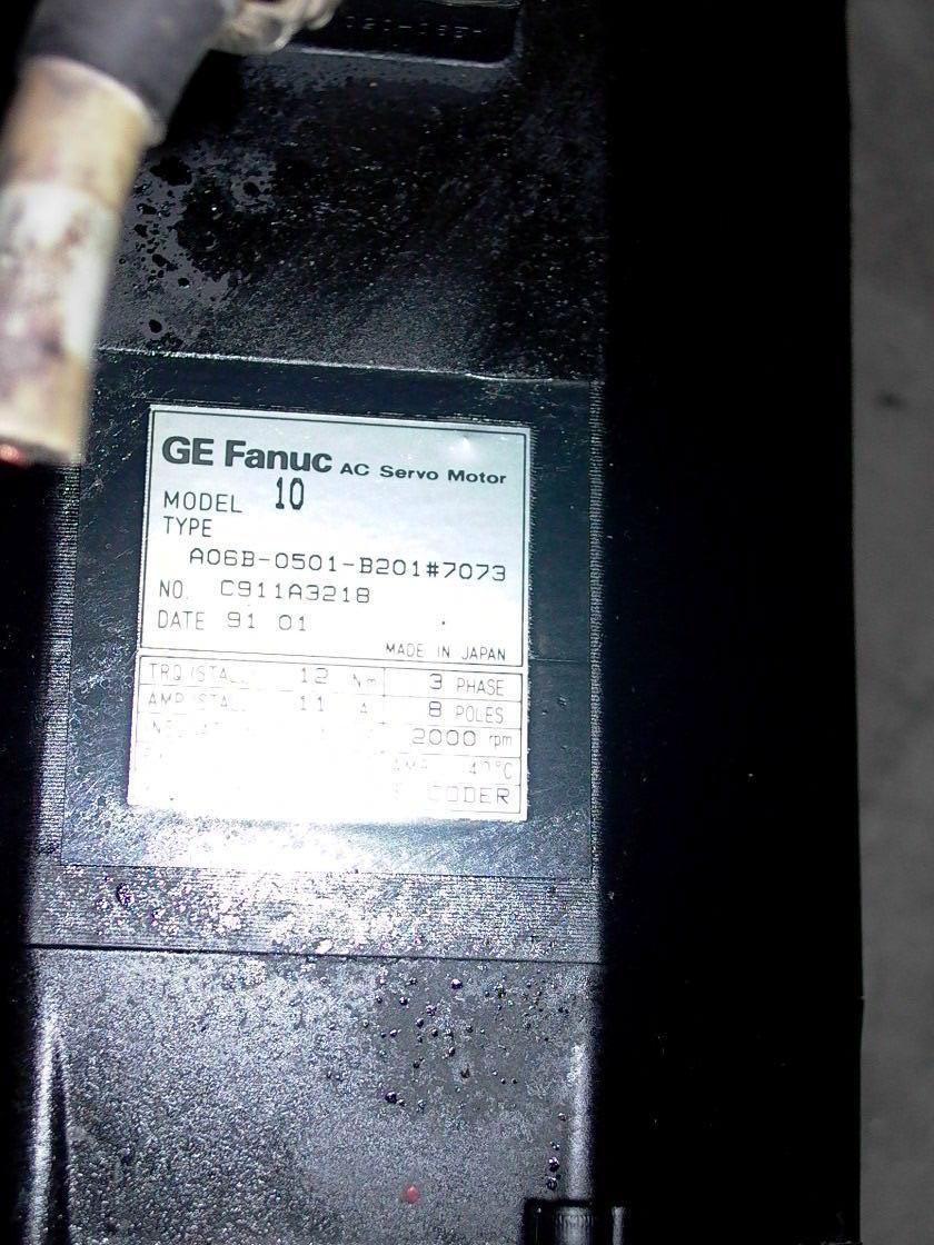 GE FANUC RED CAP AC SERVO MOTOR, A06B-0501-B201 #7073, MODEL 10