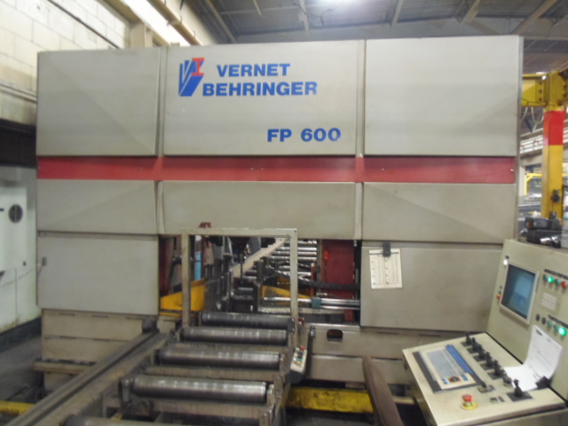 "VERNET BEHRINGER FP600 3 HEAD CNC DRILL LINE, 43' INFEED, 40' FRONT CONVEYOR, 25' POWERED EXIT, 200-800 RPM, 23.6"" X 13.4"" CAP,  NEW 2000"