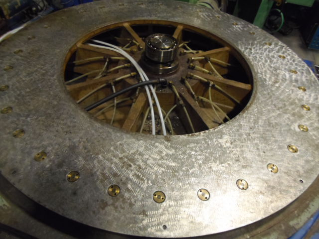 "72"" X 60"" CINCINNATI GILBERT AIR LIFT ROTARY TABLE, GE FANUC SERVO DRIVE, 72"" CROSS SLIDE, T-SLOTS, 10 SHOT PIN STOPS AND AIR BAND BRAKE, REFURBISHED 2014, 1981"