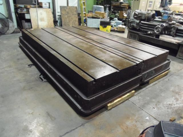 "96"" X 144"" T-SLOTTED FLOOR PLATE, 2-48"" X 144"" X 18"" PLATES, T-SLOTTED, COOLANT TROUGH"