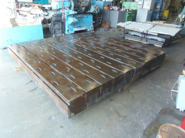 "5' X 10' FLOOR PLATES, 2 MATCHING, 12"" THICK, T-SLOTTED, 10' X 10' AREA"
