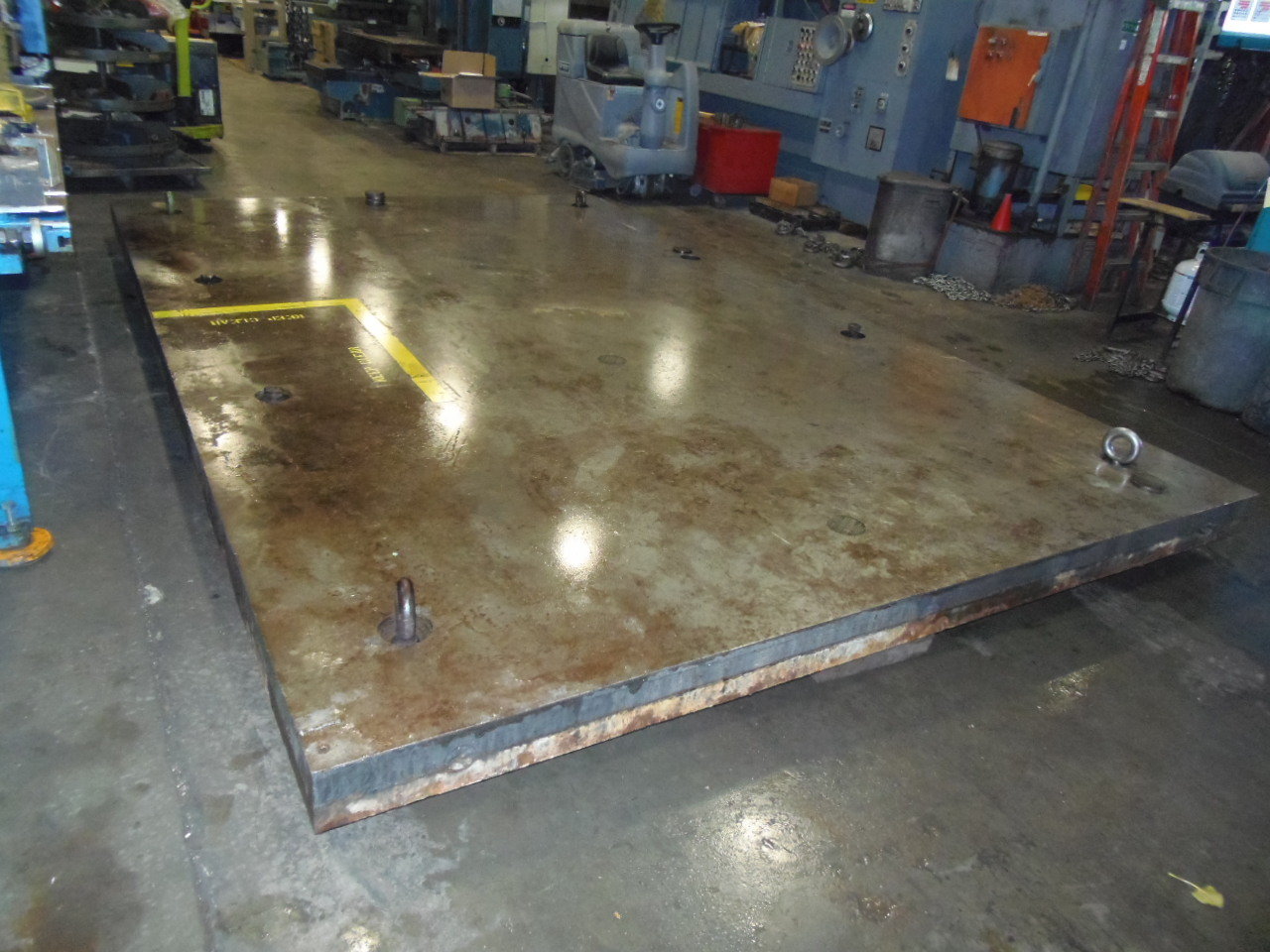 """183"""" x 120"""" FLOOR PLATE, 12 LEVELING PADS, 6"""" THICK STEEL, NO T-SLOTS"""