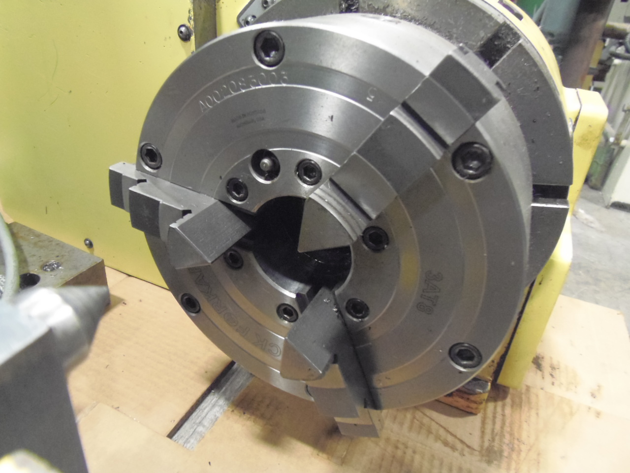 "NIKKEN ROTARY TABLE, MODEL CNC-250-LF, TAILSTOCK, 4TH AXIS DRIVE, 8"" 3-JAW CHUCK, 1993"