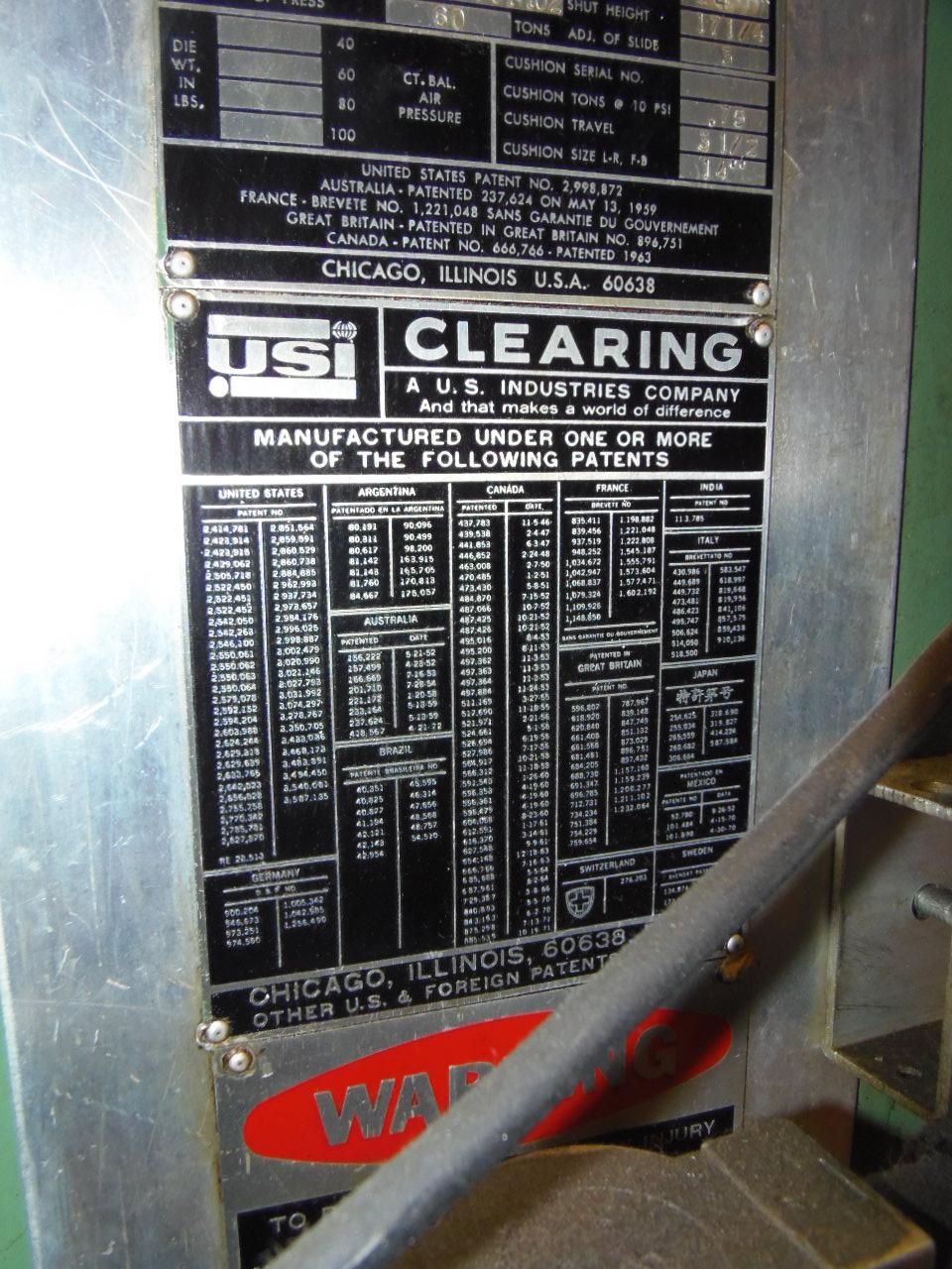 "60 TON - USI CLEARING (TORC-PAC), O.B.I. PRESS, 4"" STROKE, 60 SPM, 3"" ADJUSTMENT, 17 1/4"" SHUT HEIGHT, 1973"