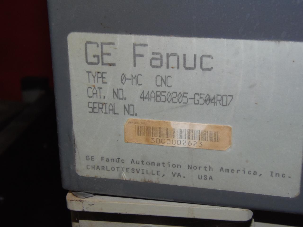 GE FANUC O-MC CNC CONTROL WITH CABINET, WITH A06B-6058-H334, A06B-6059-H203, A02B-0098-B511, 1990, FANUC 0-MC