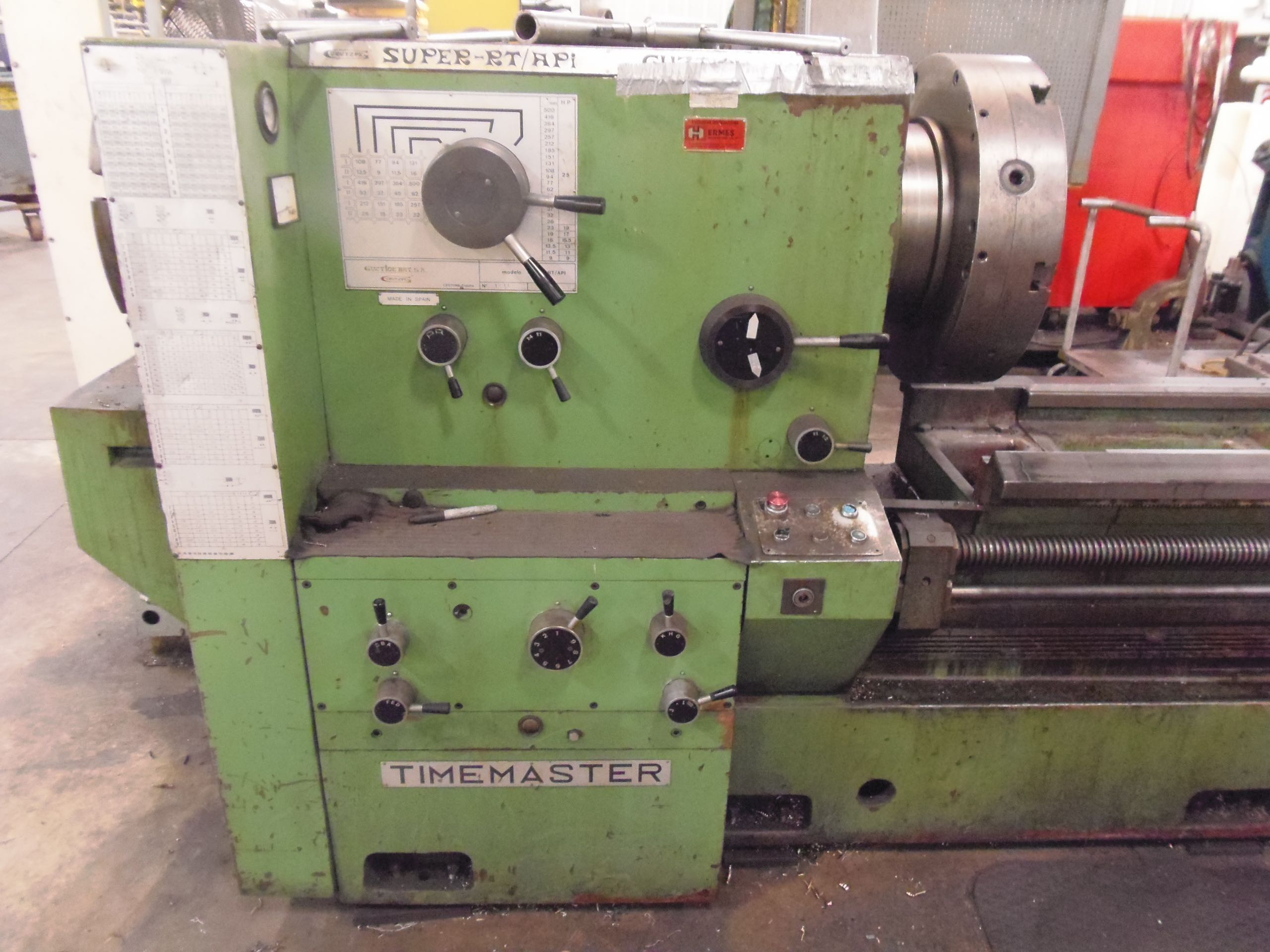"32"" X 120"" TIMEMASTER / GURUTZPE OIL COUNTRY ENGINE LATHE, 10"" HOLE, F & R 10"" HOLE CHUCKS, 500 RPM, RAPIDS, 32"" GAP, 19"" OC,  TAPER, AUTO THREADING, NICE!, 1982"