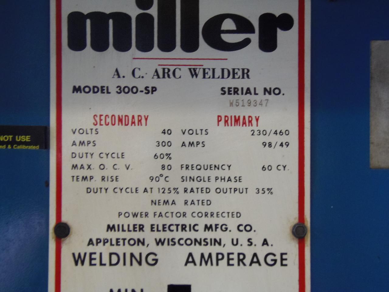 MILLER 300 AMP A.C. ARC WELDER, MODEL 300-SP
