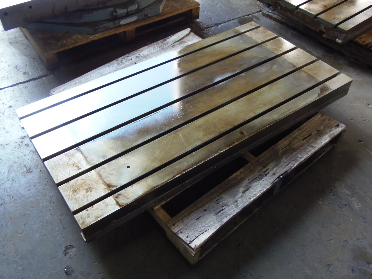"""30"""" x 60"""" T-SLOTTED TABLE, 4"""" THICK, (5) T-SLOTS 6"""" ON CENTER, CAME OFF MONARCH VMC"""