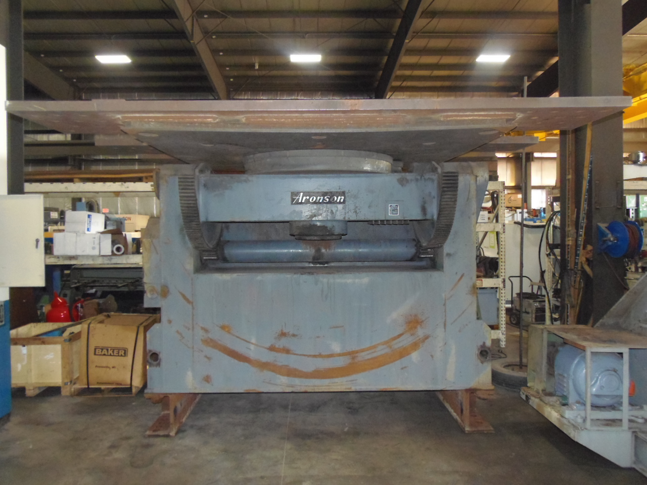 60,000 LB. ARONSON WELDING POSITIONER, G600CS, 135 DEG. TILT, 360 DEG. ROTATE, 8' x 8' TABLE