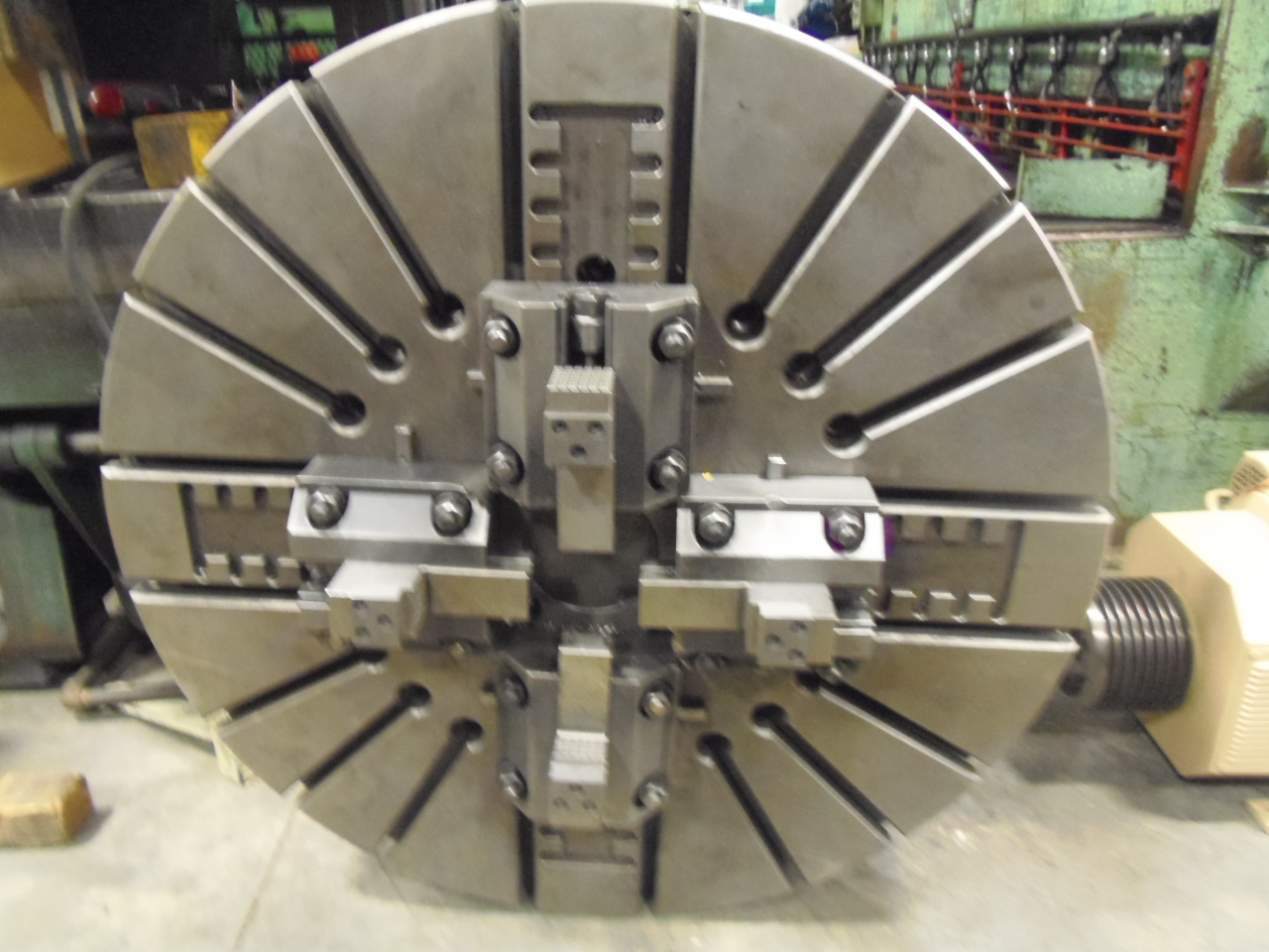 "49"" 4-JAW CHUCK, MANUAL, GOOD CONDITION, 8"" THICK"