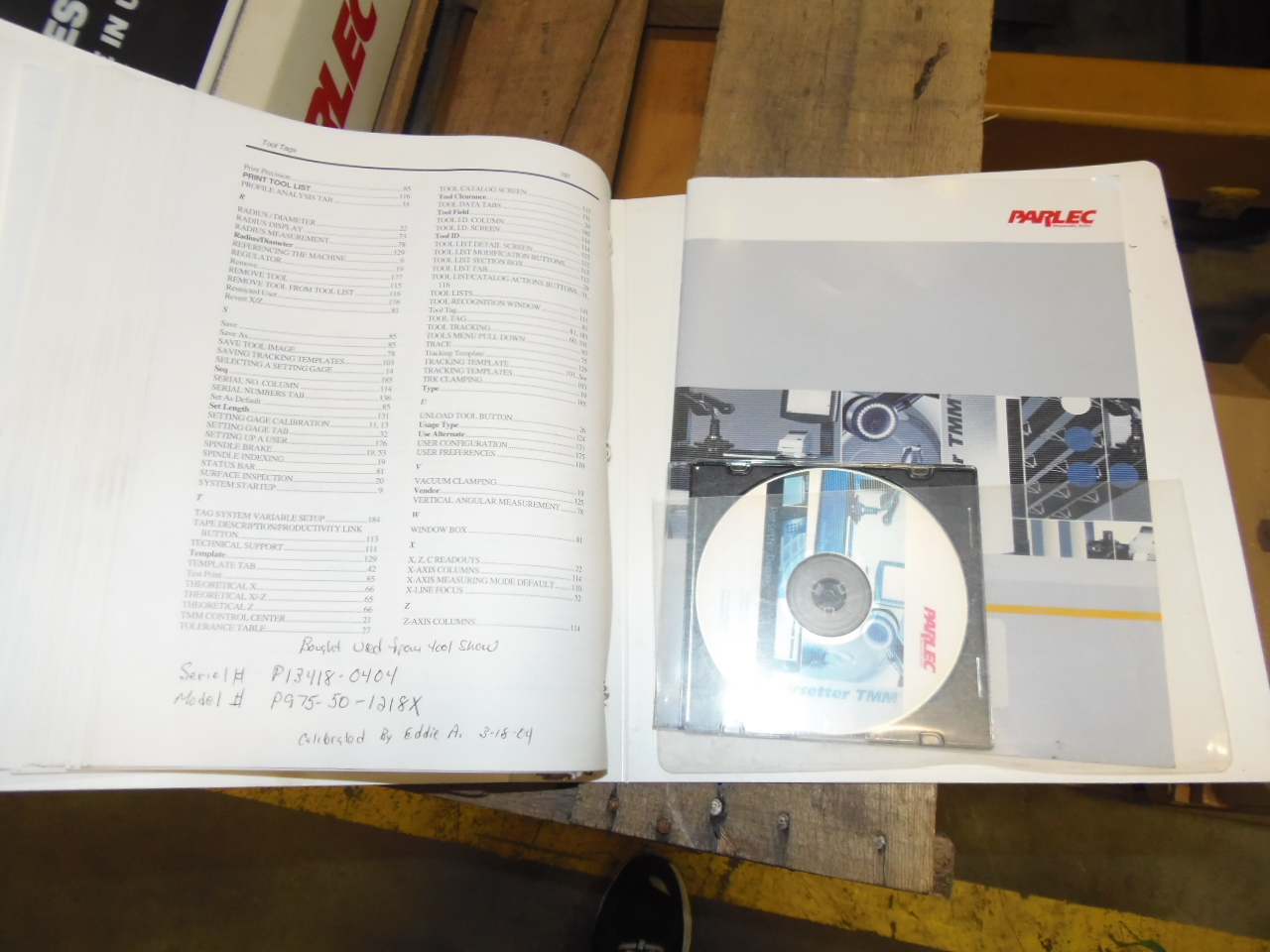 PARLEC TOOL PRESETTER, MODEL P975-50-1218X, 50 TAPER, MANUALS, NO COMPUTER, 2004