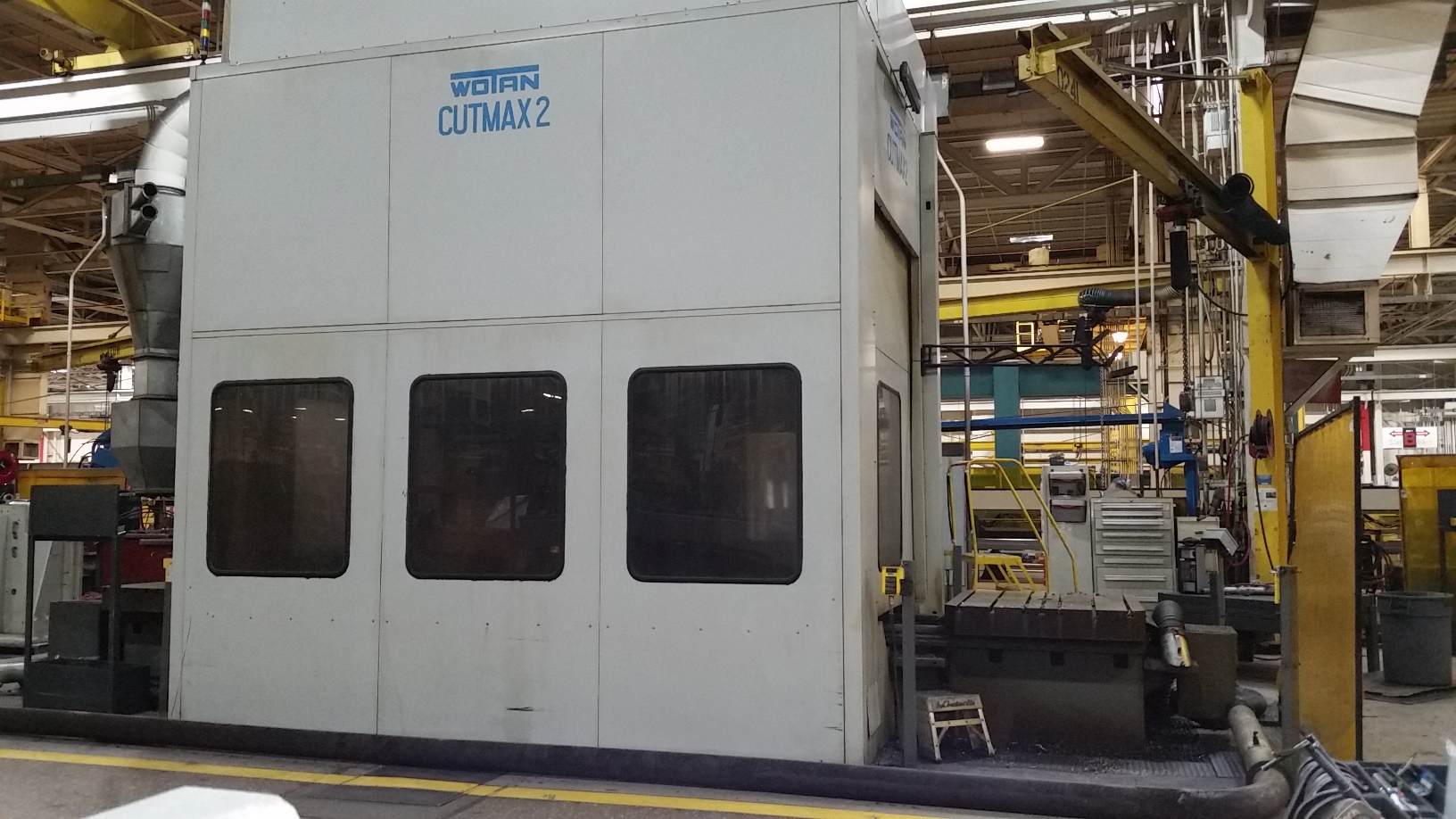 """4.75"""" WOTAN CUTMAX II, DUAL 55 X 63 PALLETS, 71 LONG. X 67 VERT. X 53 IN/OUT X 24 QUILL, 240 ATC, THRU SPINDLE COOLANT, 4 TH AXIS, 3000 RPM, 41 HP, SIEMENS 840C CONTROL, 1996"""