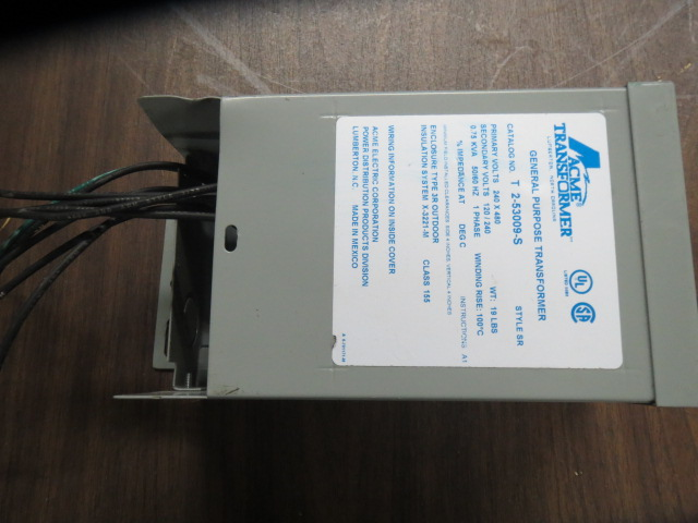 Acme T 2-53009-S Used Transformer, .75 KVA, 240 x 480V  Primary, 120/240V Secondary