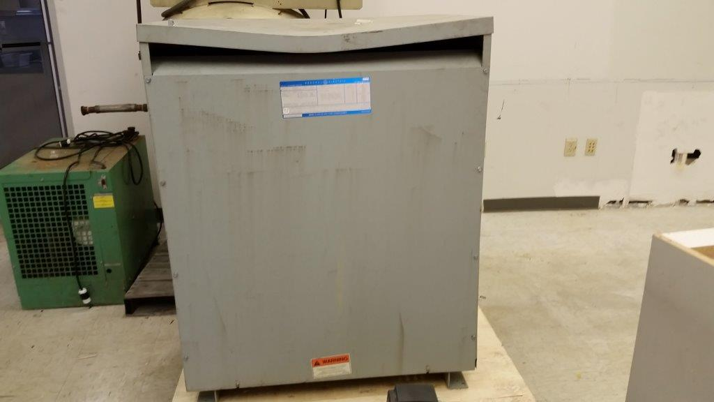 General Electric 9T2383877 Used Transformer, 225 KVA, 480V High, 208 Secondary