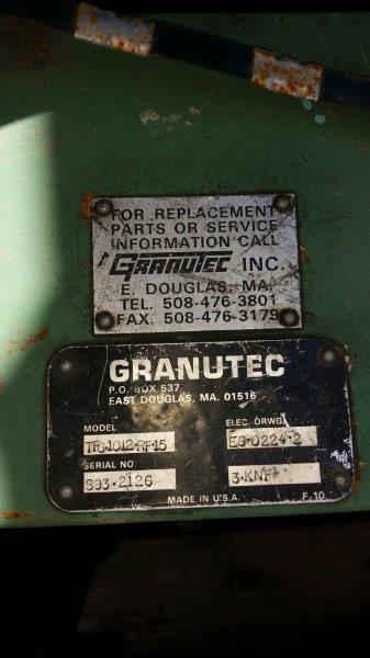 Granutec TFG 1012 Used Granulator, 10x12, 15 hp, 460V
