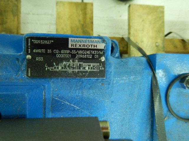 Rexroth 00932827 1000P33/68G24ETK31 20968102 Hydraulic Valve