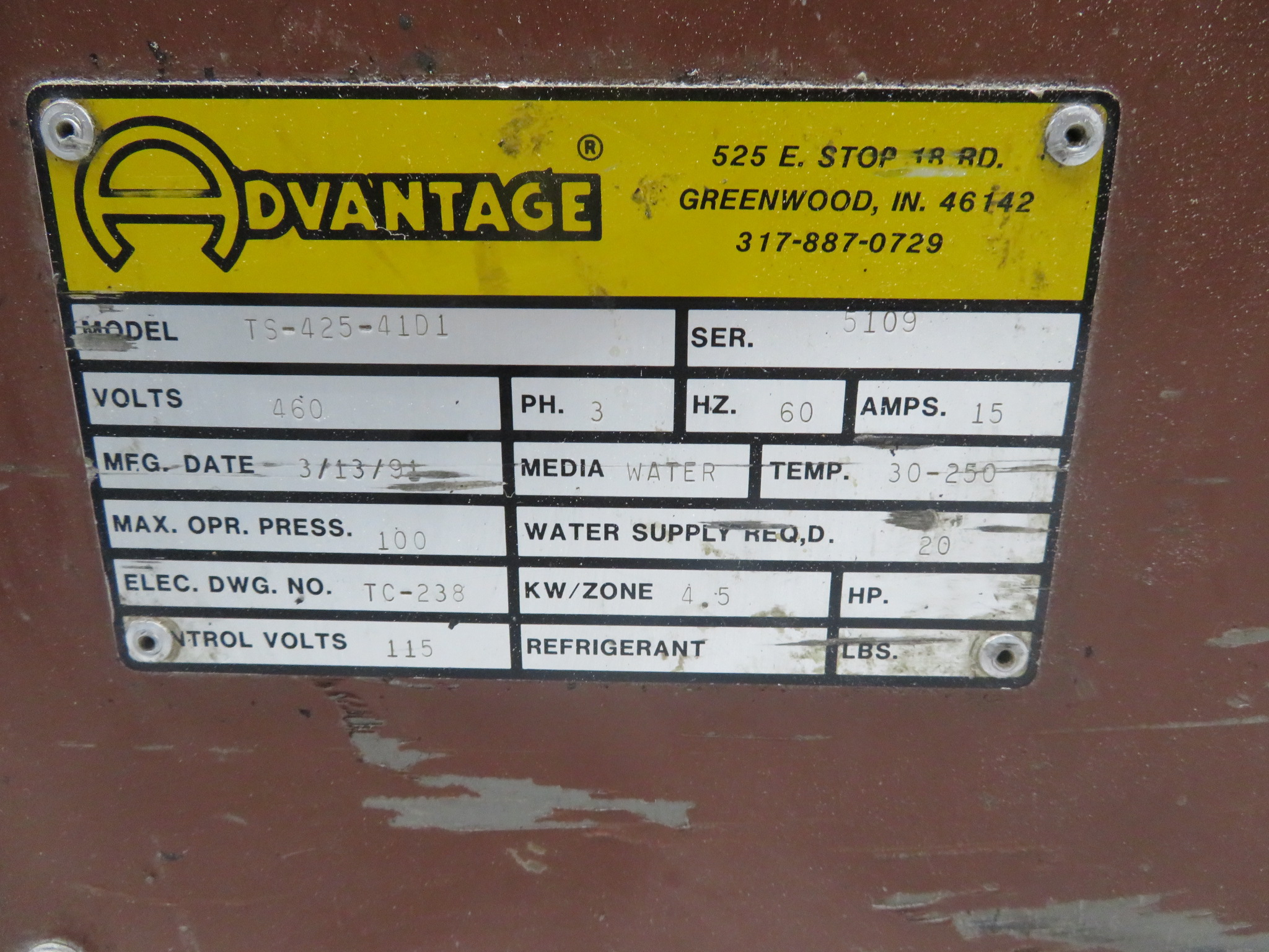 Advantage TS-42-4101 Used Mold Temperature Controller, 4hp, 4.5 KW, 460V