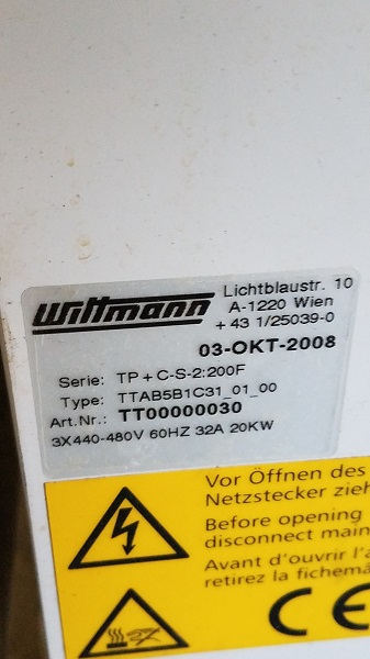 Wittmann TP Dual Zone Used Temperature Controller, 2 x 1hp pumps, 12kw 480V, Yr. 2008