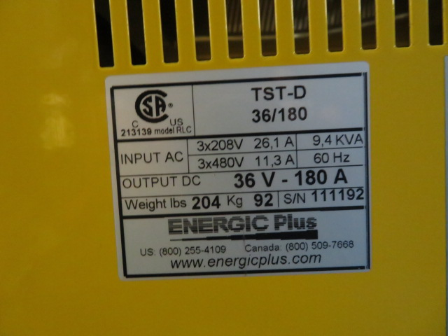 Energic Plus Model TST-D 36/180 RLC Used Battery Charger, 36 volt, 208 to 480 volt input power