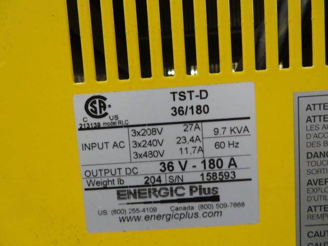 Energic Plus Model TST-D  36/180 RLC Used Battery Charger, 208 to 460V input power